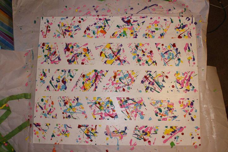 Tape design on canvas, splatter, then peel tape away -- Splatter Paint, Spring 2014