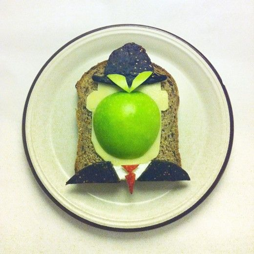 Magritte's The Son of Man on toast. By Ida Frosk