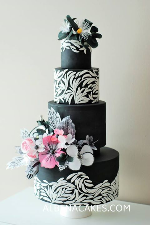 Black White And Pink Wafer Simple Flowers
