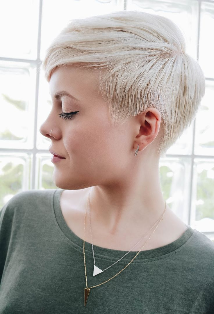 Sarah H Short Platinum Pixie HairMakeup Super Short