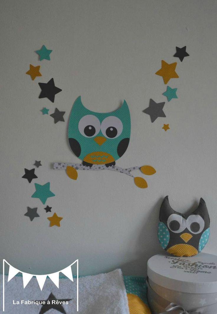 stickers hibou chouette étoiles turquoise jaune moutarde gris blanc - décoration chambre mixte turquoise moutarde gris blanc 2