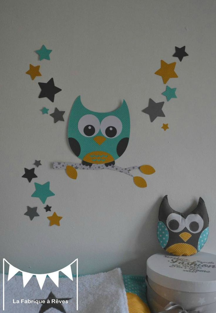 Stickers hibou chouette toiles turquoise jaune moutarde for Decoration murale jaune moutarde