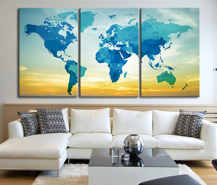 Blue and Turquoise with Sky Background World Map Canvas Print - Contemporary 3 Panel Triptych Aqua World Map Canvas Art Large Wall Art