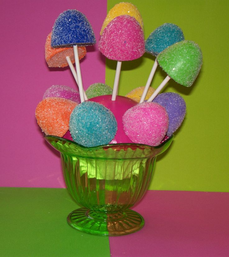 6 Candyland Fake Gumdrop Cake Pops Lollipops for Birthday Party Favors Decorations Photo Props Displays. $16.00, via Etsy.