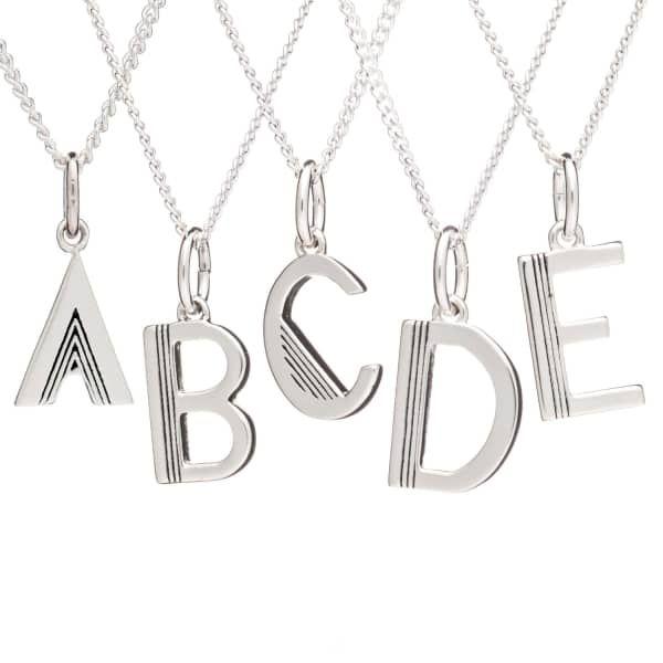 Art Deco Initial Necklace Silver   Rachel Jackson London   Wolf & Badger