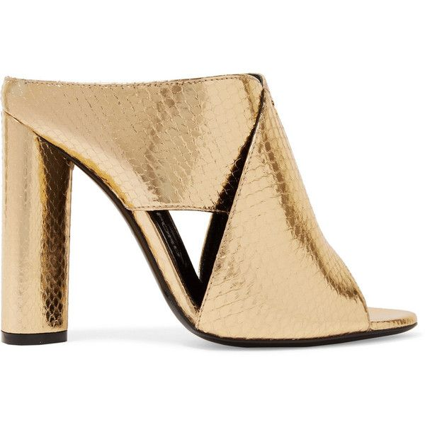 TOM FORD Metallic ayers mules found on Polyvore featuring shoes, heels, high heel mule shoes, block heel shoes, high heel mules, slip on shoes and strappy shoes