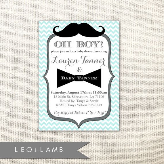 Items Similar To Mustache Invitation   Bow Tie Invitation   Baby Shower  Invitation For A Boy   Printable Or Printed On Etsy
