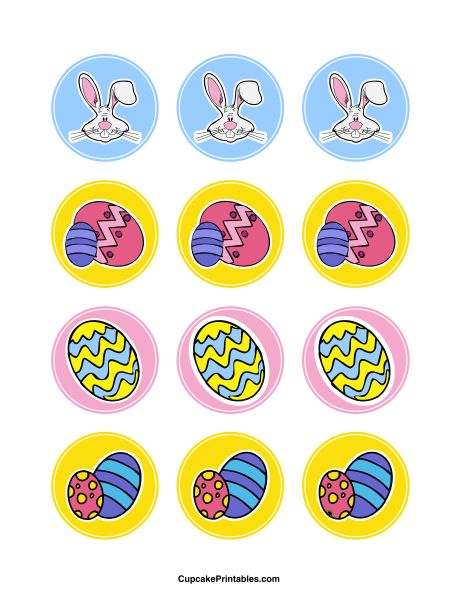 Easter cupcake toppers. Use the circles for cupcakes, party favor tags, and more. Free printable PDF download at http://cupcakeprintables.com/toppers/easter-cupcake-toppers/