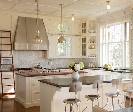 modern classic kitchen: Modern Classic, Dreams Kitchens, Marbles Wall, Coastal Kitchens, Kitchens Ideas, Classic Kitchens Design, Kitchens Islands, White Cabinets, White Kitchens