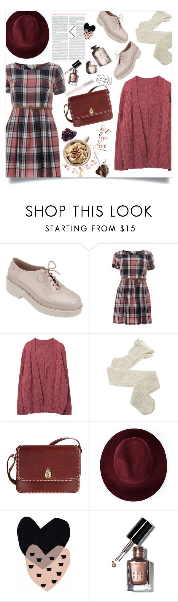 """""""plaid dress."""" by arwitaa on Polyvore featuring Melissa, Yumi, Garance Doré, Fogal, Tula, Redopin, Seventy Tree, DK, Bobbi Brown Cosmetics and Faber-Castell"""