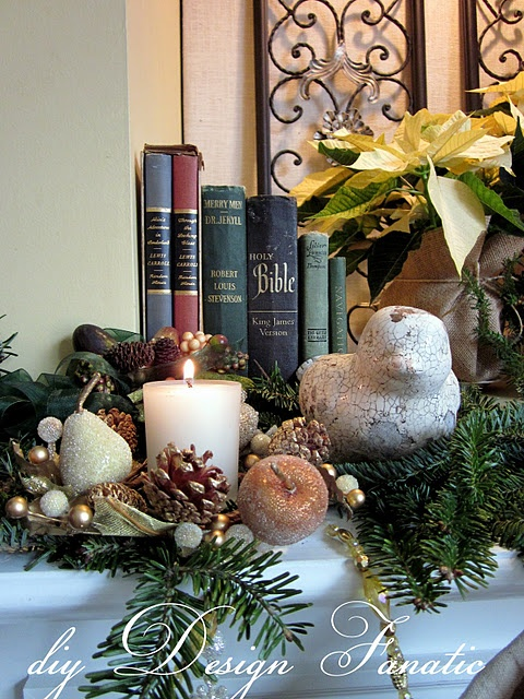 Mantel, notice the Bible...true meaning of Christmas!