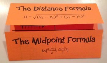 This foldable organizes the formula, explanation, graph, and two examples for both the distance and midpoint formula.