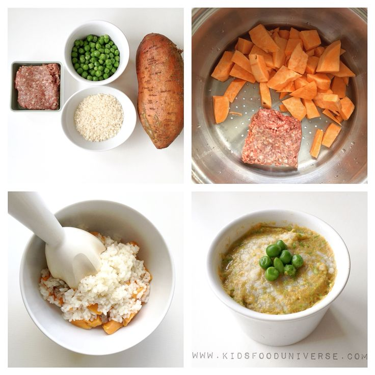 Organic Rice Sweet Potato Minced Meat And Peas Baby Food Puree