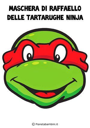 Maschera di Raffaello delle Tartarughe Ninja da stampare e ritagliare gratis