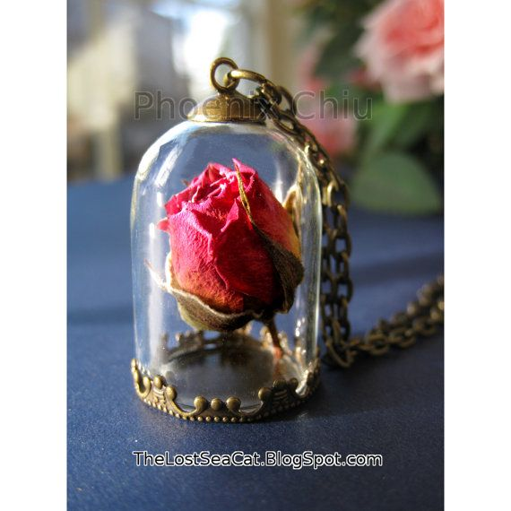 Real rose necklace Terrarium necklace Real flower by phoenixchiu