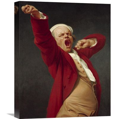 """Global Gallery 'Self-Portrait, Yawning' by Joseph Ducreux Painting Print on Wrapped Canvas Size: 20"""" H x 16"""" W x 1.5"""" D"""