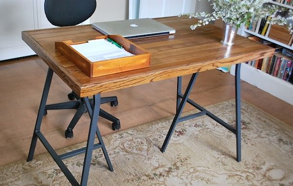 IKEA trestle legs ... paint a different colour or attach to your choice of table/desk top.