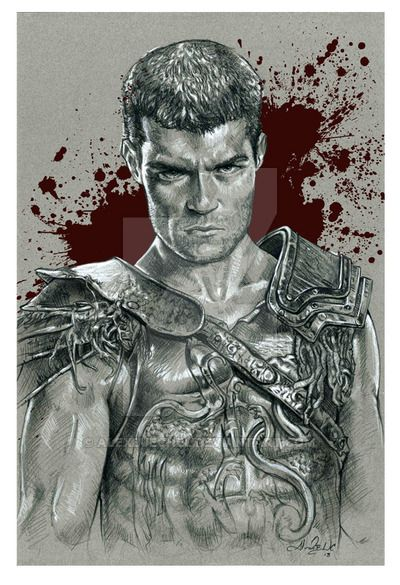 Spartacus Actor Liam Mcintyre 12x18 Prismacolor black and white. Starz - Tv Show also see Spartacus Crixus Ilithyia; Gannicus Saxa