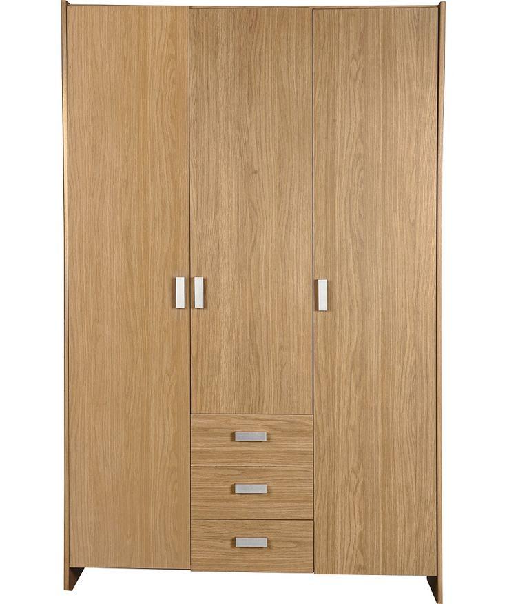Buy New Capella 3 Door 3 Drawer Wardrobe - Oak Effect at Argos.co.uk - Your Online Shop for Wardrobes.