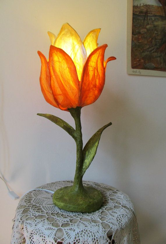 Paper flower lamp, designed paper table lamp, paper mache desk lamp, artistic  lamp - Best 25+ Orange Desk Lamps Ideas On Pinterest Mid Century
