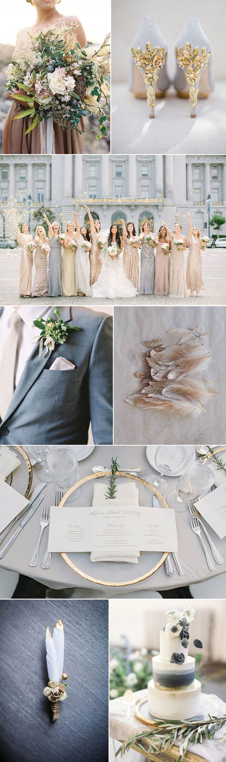 Inspiration for weddings in glam shade of golds, light grays and whites.