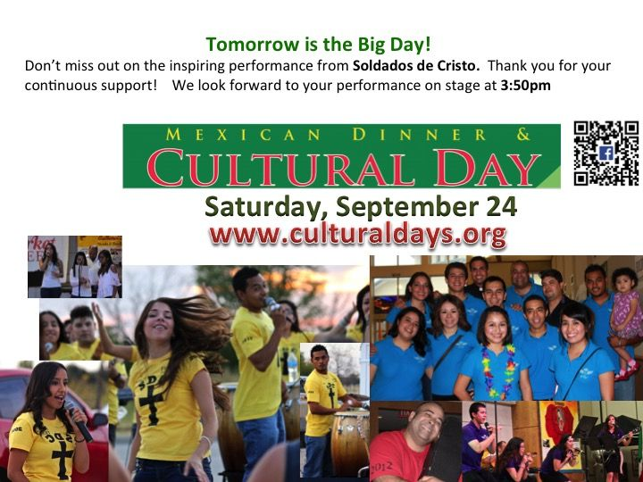 Tomorrow is the Big Day! Don't miss out on the inspiring performance from Soldados de Cristo.  Thank you for your continuous support!    We look forward to your performance on stage at 3:50pm