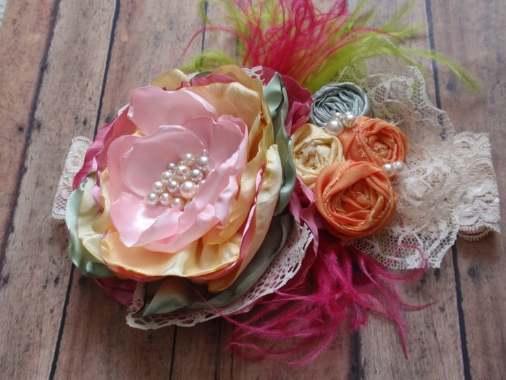 Spring/Easter Headband, Vintage Handmade Headband, Shabby Chic Hair Accessory, Kids Hair Accessory, Kids Photo Prop, Oversized Headband. $32.95, via Etsy.