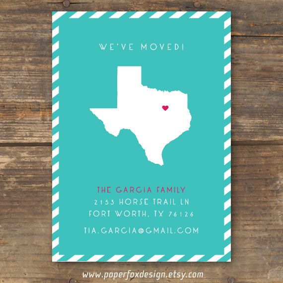 Moving Announcement, New Home, New Address Card - DIY Printable - State Silhouette. $13.50, via Etsy.