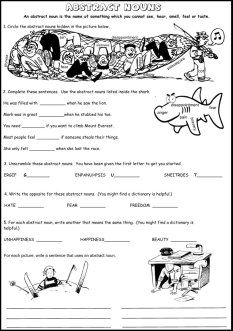 This is one of three fun abstract noun worksheets.  There are other abstract noun resources as well.
