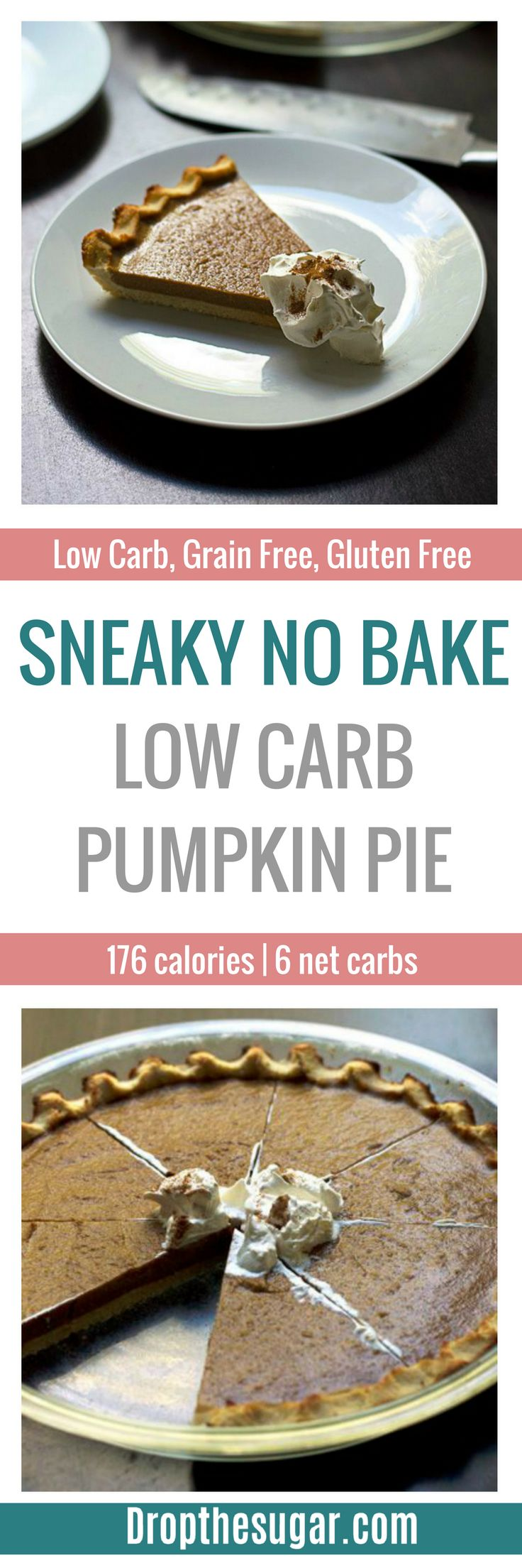 Sneaky No Bake Low Carb Pumpkin Pie | A low car pumpkin pie recipe with a sneaky vegetable inside. This is a sugar free pumpkin pie more for those who want a smaller version that's more like a torte. But, you can double the recipe to make it thick. Pin now to make later!
