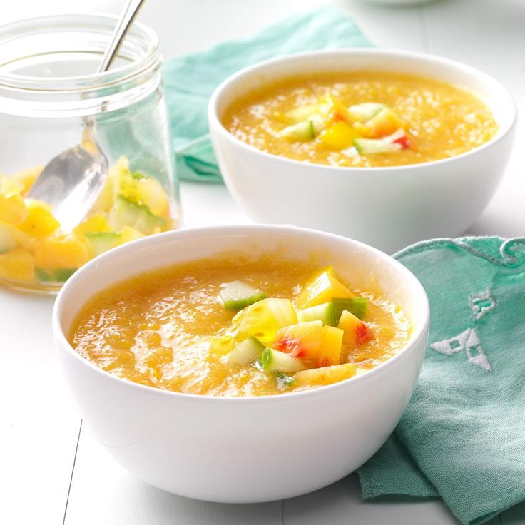 Golden Summer Peach Gazpacho Recipe -Since peaches and tomatoes are in season together, I like to blend them into a cool, delicious soup. Leftovers keep well in the fridge—but they rarely last long enough to get there.—Julie Hession, Las Vegas, Nevada
