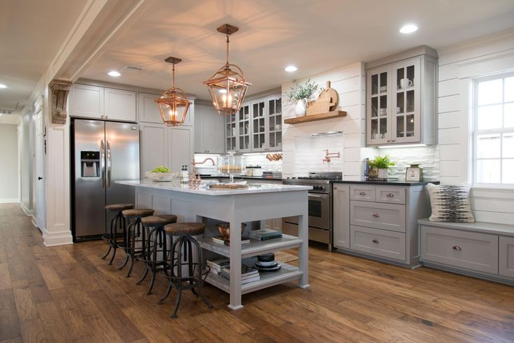Magnolia Homes Joanna Gaines kitchen white grey wood shiplap corbels