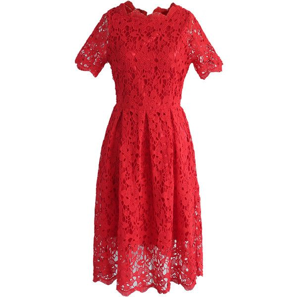 Chicwish Floral Holiday Crochet Dress in Red (430 GTQ) via Polyvore featuring dresses, red, floral crochet dress, special occasion dresses, red crochet dress, flower print dress y red evening dresses