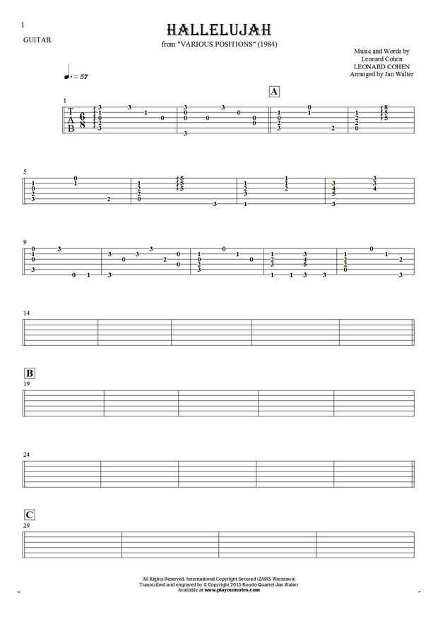 Hallelujah sheet music by Leonard Cohen. From album Various Positions (1984). Part: Tablature for guitar - accompaniment.