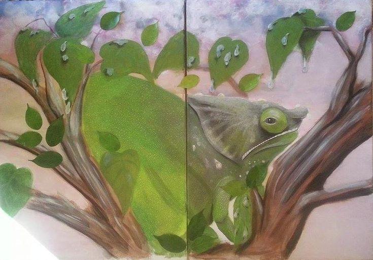 Chameleon Painting - Chameleon Parsonii by Judit Szalanczi