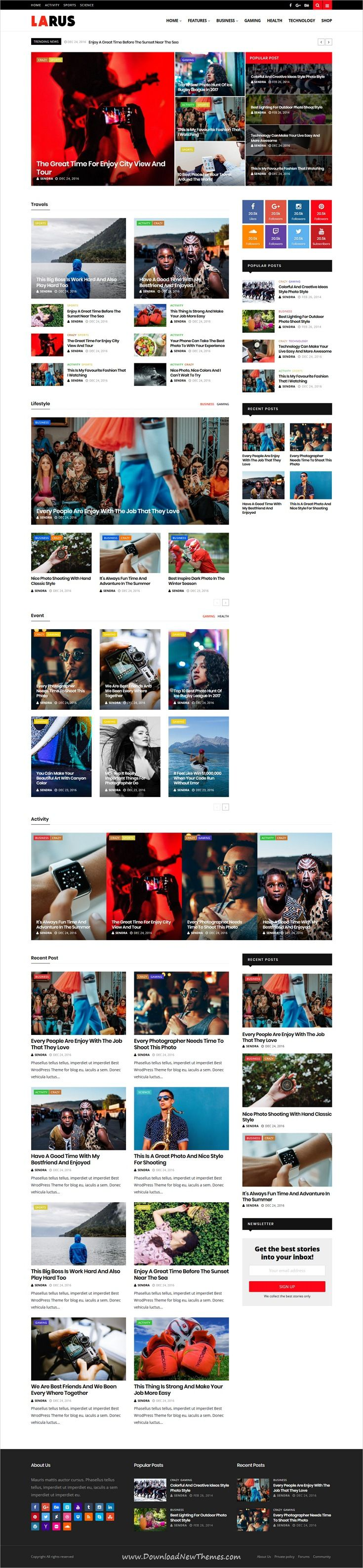 Larus is clean and modern design responsive #WordPress theme for #news, #blog and #magazine publishing #website with 13 unique homepage layouts to live preview & download click on image or Visit 👆