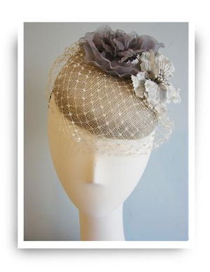 Grey Cocktail hat by Orit Aviezer Millinery
