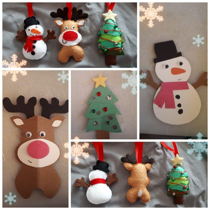 Ornements en feutrine : sapin de Noël, reine au nez rouge et bonhomme de neige.