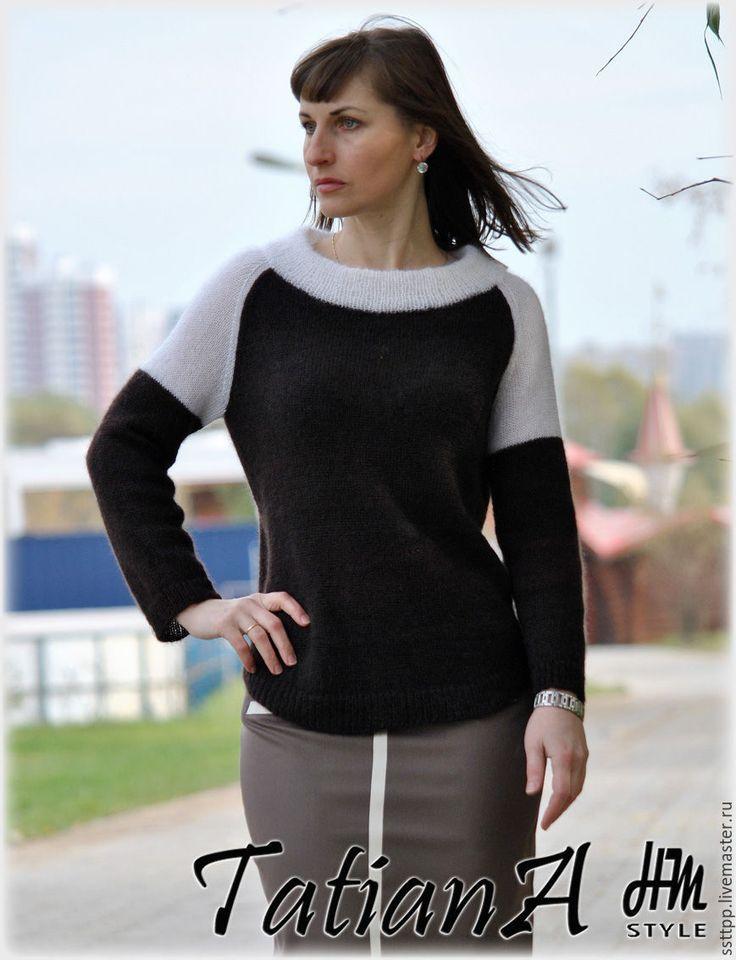 """Купить Классический  свитерок  """"Есть в осени первоначальной....."""" - коричневый, свитер, свитер вязаный"""