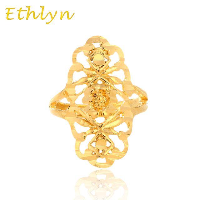 Etíope Ethlyn tamanho livre mulheres anel de Noivado casamento ouro 24 k real banhado a ouro de ouro Redimensionável anel R08