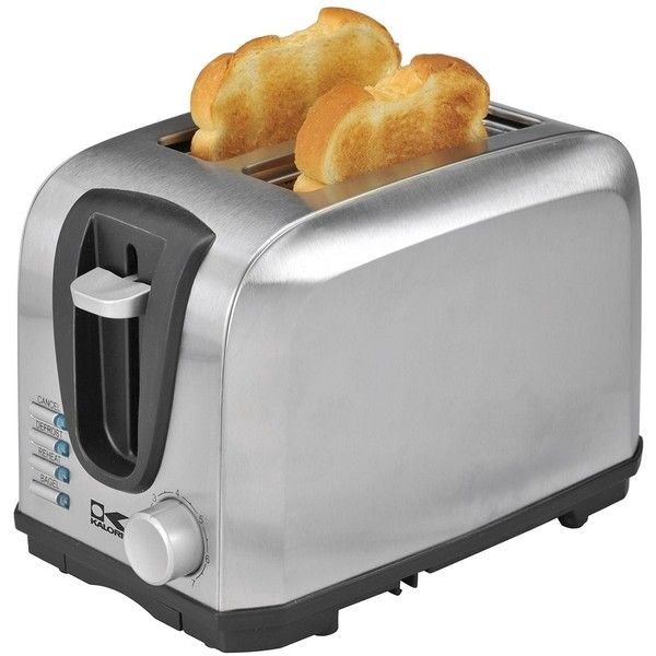 Kalorik 2 Slice Stainless Steel Toaster ($39) ❤ liked on Polyvore featuring home, kitchen & dining, small appliances, no color, 2 slice toaster, bread toaster, stainless steel toaster, kalorik and two slice toaster
