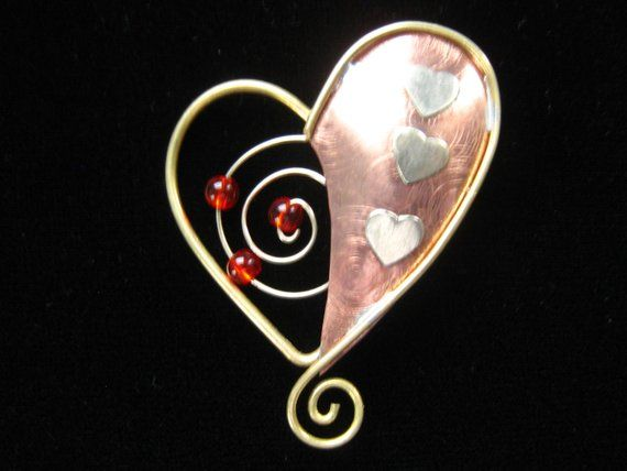 Beads Copper Metal Hearts