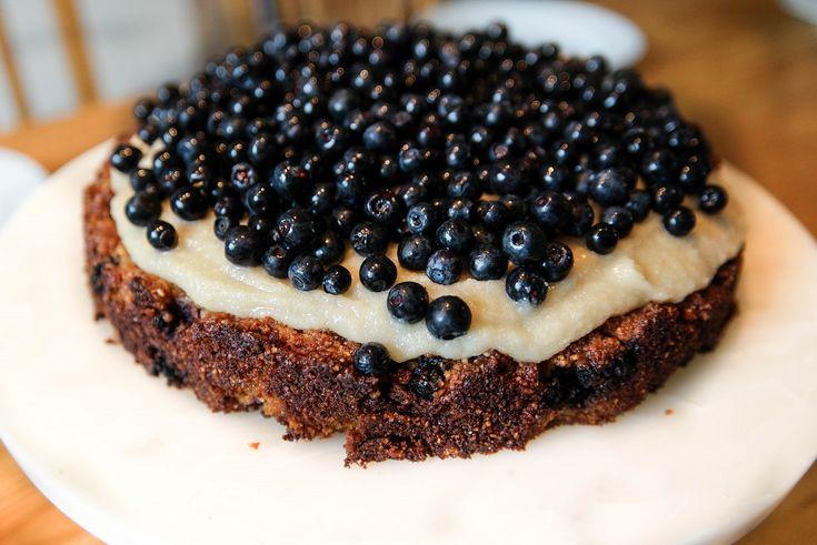 Blåbärskaka med citronfrosting – glutenfri, äggfri, mjölkfri och vegansk   Bambi