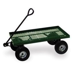 "Flatbed Cart, 36"""""""" x 18"""""""", 600 lb Capacity, Welded Steel Mesh Deck, Powder Coat Steel Handle"