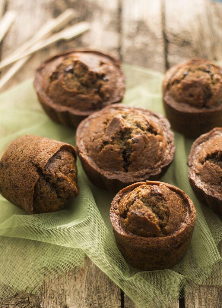 tortadirose - Muffins alla banana e caffè con gocce di cioccolato- Banana muffin with coffee and chocolate chip