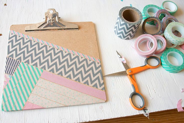 washi tape + clipboard diy, blogged at callaloo soup