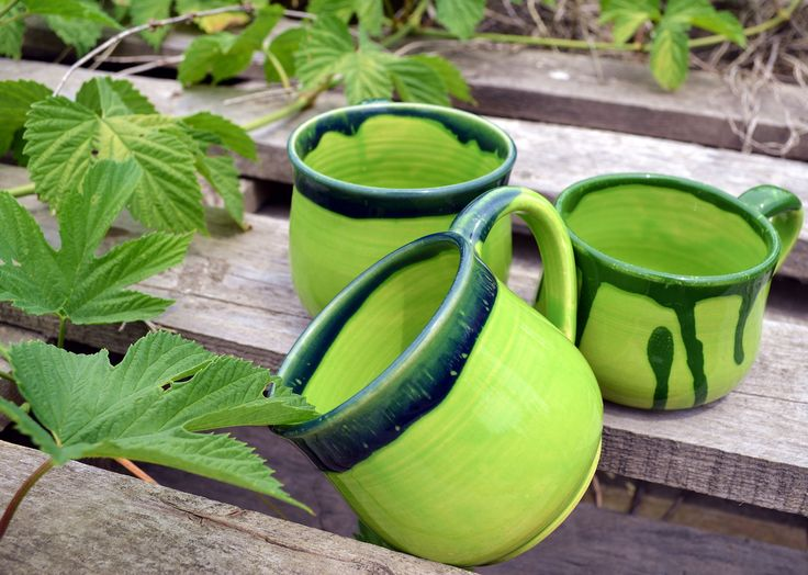 FREE SHIPPING Stoneware mugs set Colorful ceramic mugs Bright cups for coffee Colored mugs Green coffee mug by Lihtar on Etsy