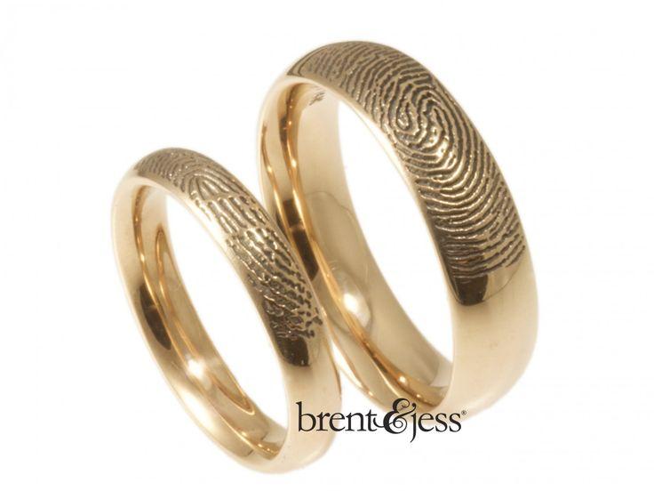 Lovely From brentjess Set of Comfort Fit Low Dome Fingerprint Wedding Bands