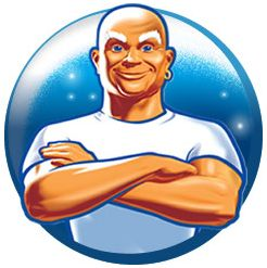Mr Clean has served the brand well, i think it's a good logo and a good mascot.  The logo is so connected to the company that it would seem weird to have anything else at this point.  The man is clean shaven, even on his head.  He kind of looks like an old sailor with his clean white shirt and earring.  It reminds the viewer of swabbing a deck or something, cleaning to military precision but he has a smirk like everything is going to be alright.  Everyone can get that clean with Mr. Clean.