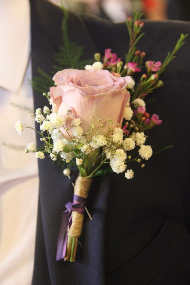 Purple wedding, memory lane , wax flower, gypsophelia buttonhole